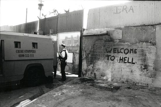 belfast, ira, welcome to hell, northern ireland, orange parade, photojournalism